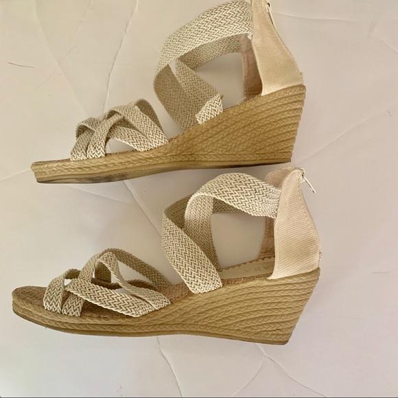 ac02b235f56 SALE Zara White Strappy Wedges Back Zipper Shoes